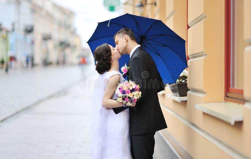 亲吻婚礼夫妇-户外 免版税库存图片