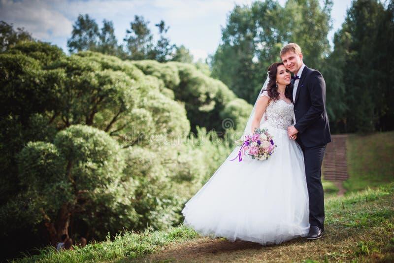 亲吻本质上,一个美丽的花束晴天的新娘和新郎 免版税库存图片