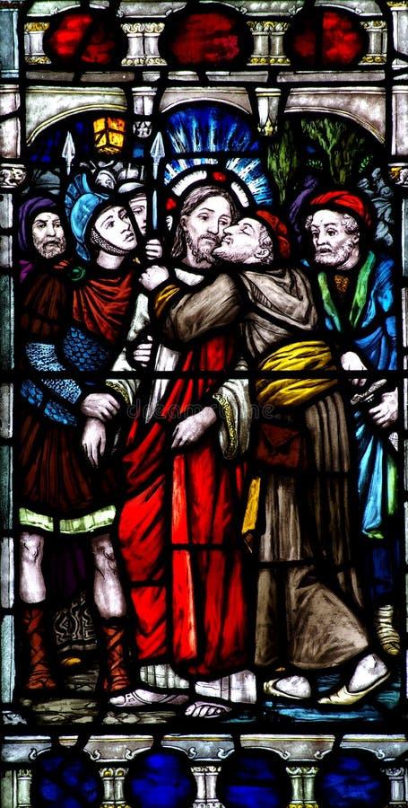 亲吻耶稣基督的Judas 免版税库存图片