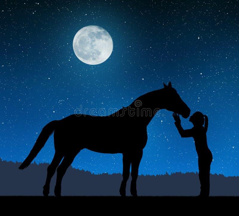 给亲吻马的女孩的剪影 库存照片
