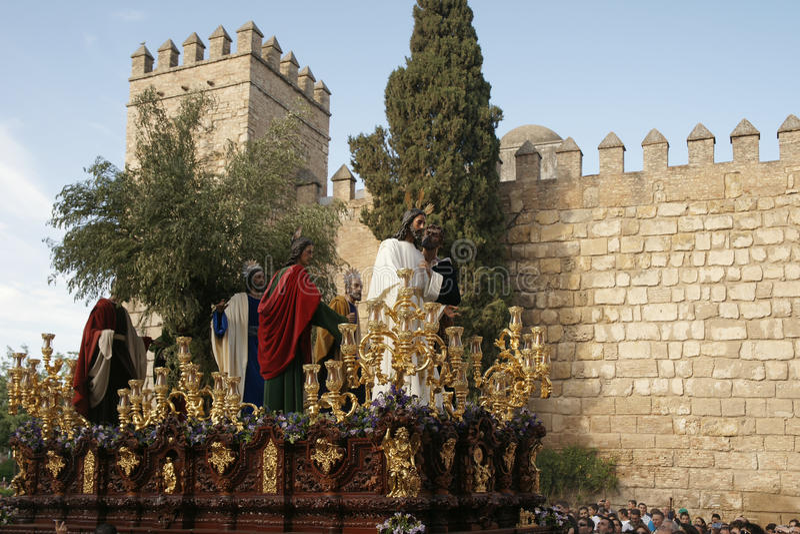 亲吻Judas,圣周的团体在塞维利亚,西班牙 库存图片