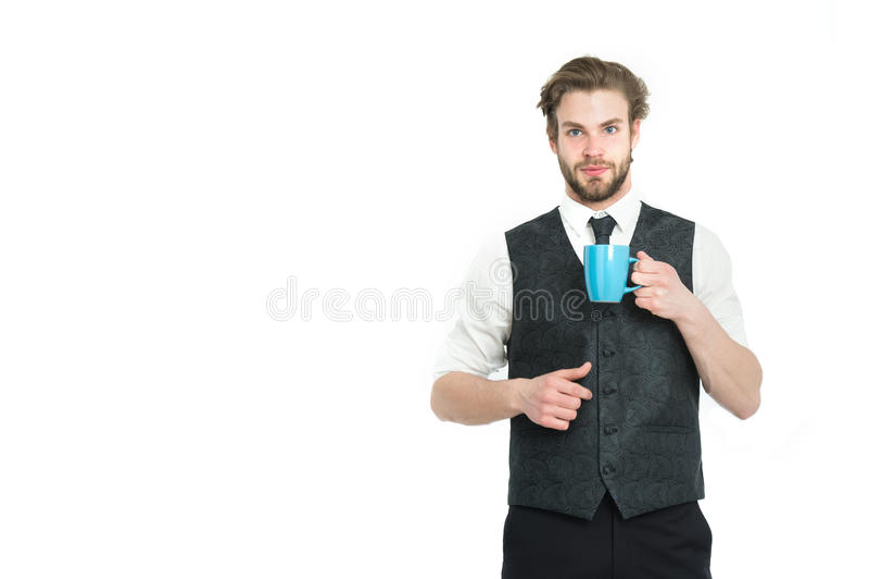 人、微笑的绅士饮料茶或者咖啡从杯子 图库摄影