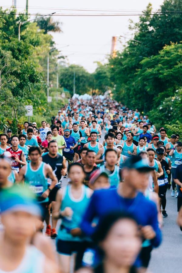 人、男人和妇女人群和变化早晨是跑微型,半和充分的马拉松在公园 库存图片