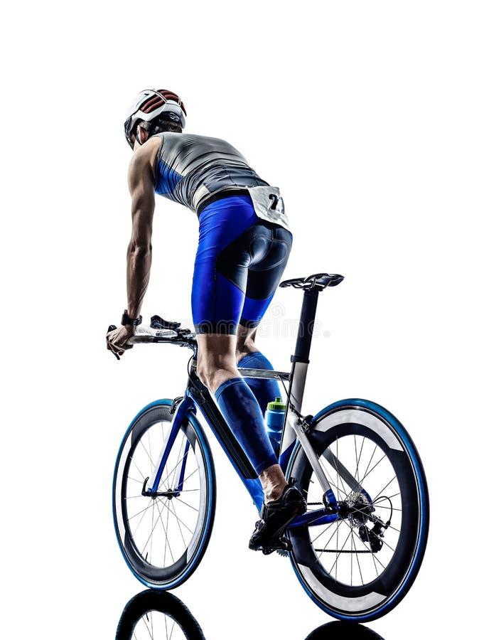 人三项全能铁人运动员骑自行车者骑自行车 免版税库存照片