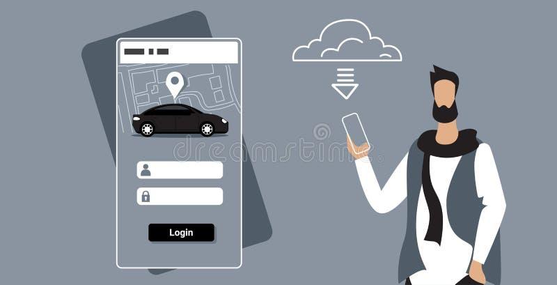 人下载网上流动应用程序租汽车分享概念运输汽车共用模式服务人藏品智能手机 向量例证