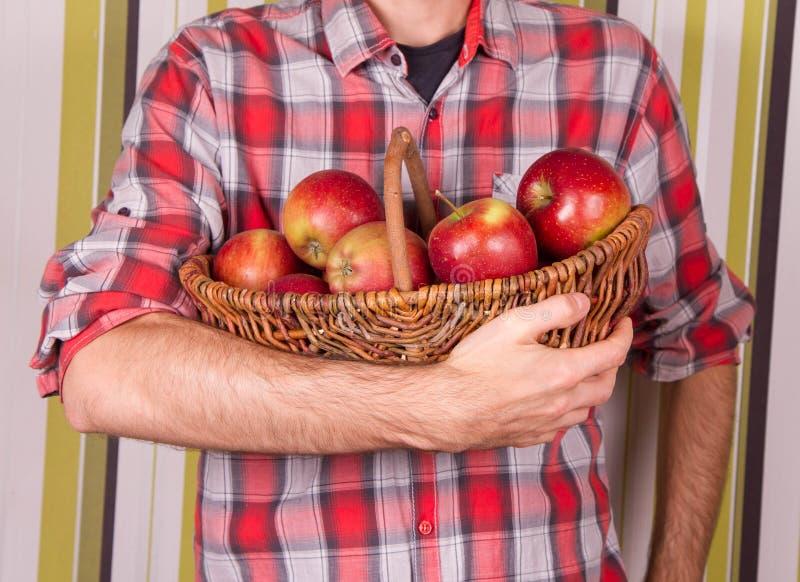 人与充分篮子苹果 库存照片