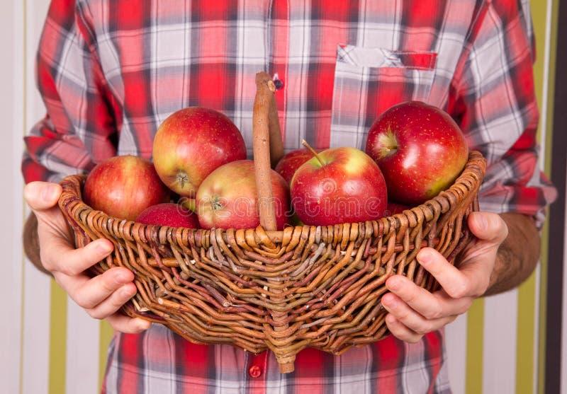 人与充分篮子苹果 库存图片