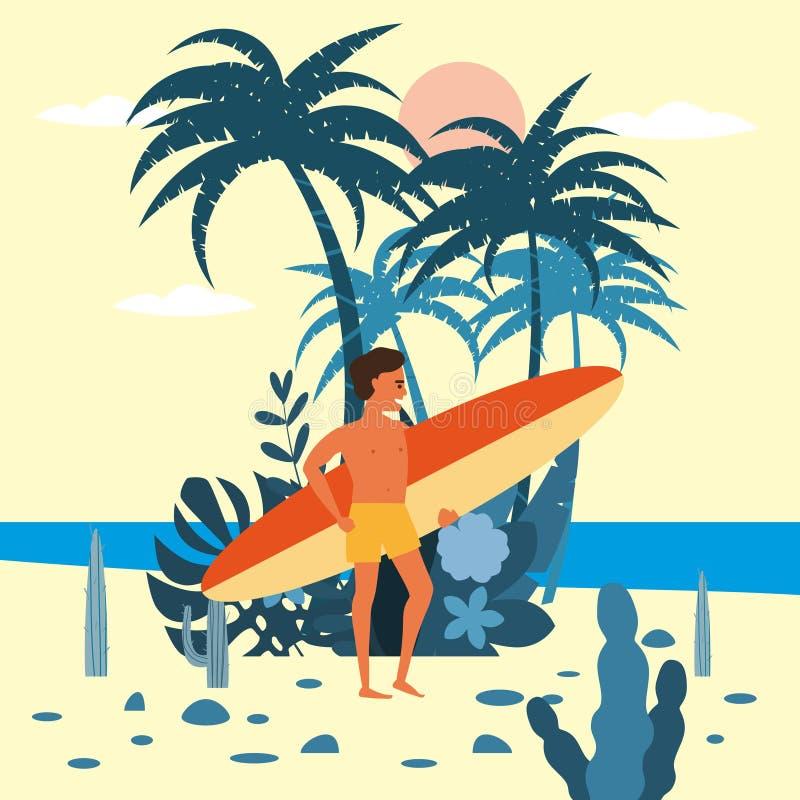 人与冲浪板的冲浪者字符简而言之在棕榈海,海洋,海滩异乎寻常的植物背景的  现代的趋向 向量例证