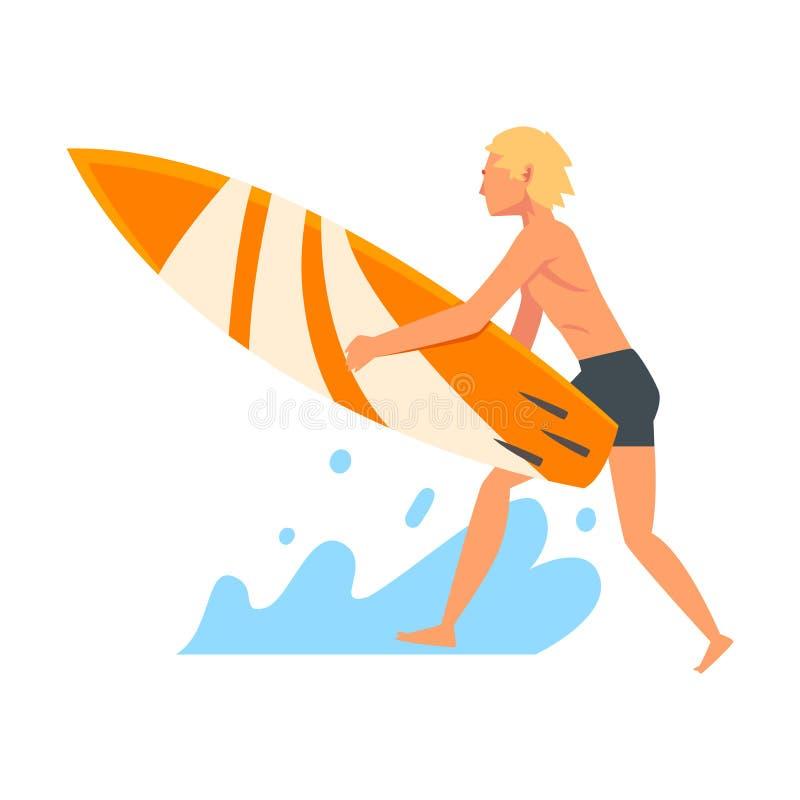 人与冲浪板的冲浪者字符,消遣海滩水上运动,享受暑假传染媒介例证的人 库存例证