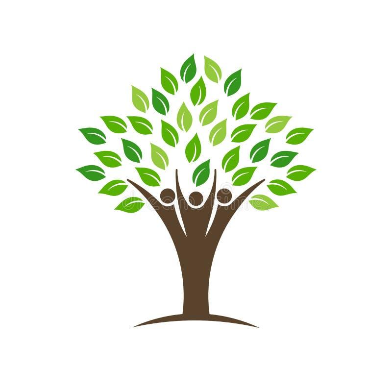 人小组与叶子、树干和手的树商标