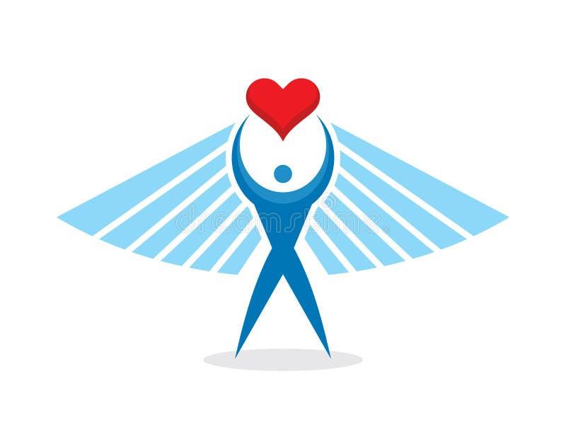 人与心脏和翼-概念传染媒介商标设计 幸福爱创造性的标志 皇族释放例证