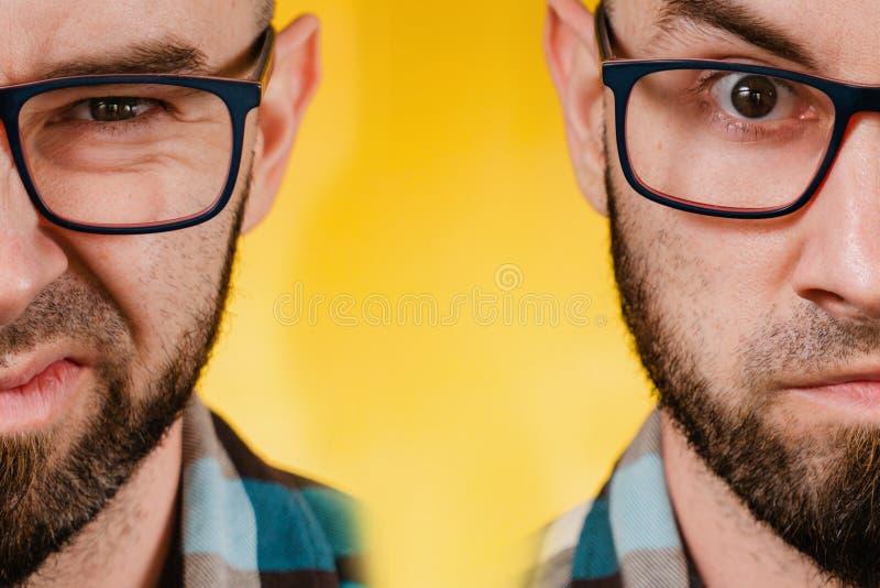 人与情感 一位留着胡须、戴眼镜、身穿蓝色格子衬衫的男子的双面画像,表达了他对自己厌恶的情绪 免版税图库摄影