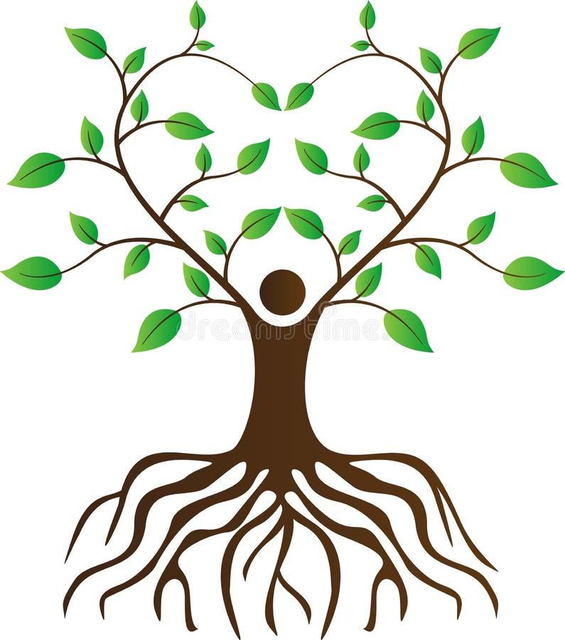 人与根的爱护树木 库存例证
