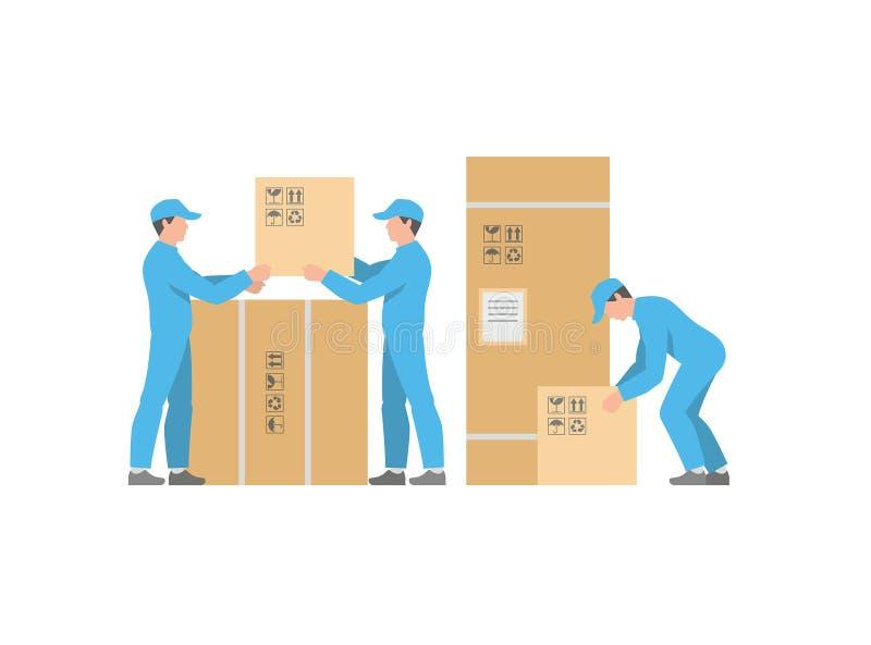 人与箱子的送货业务 向量例证