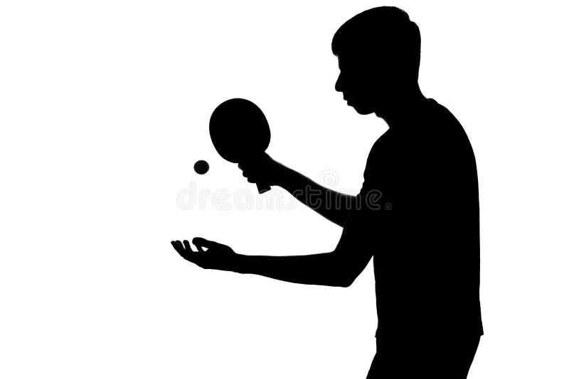 人为乒乓球做准备炫耀比赛 免版税库存照片