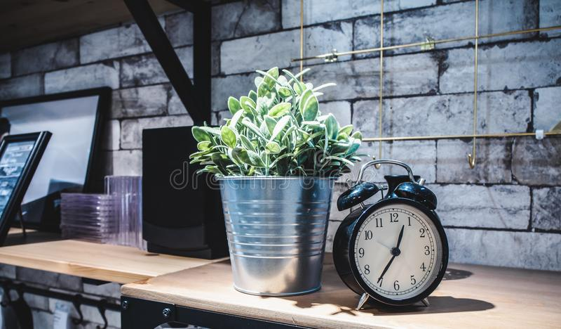 人为植物和经典闹钟的装饰在房子里 库存图片