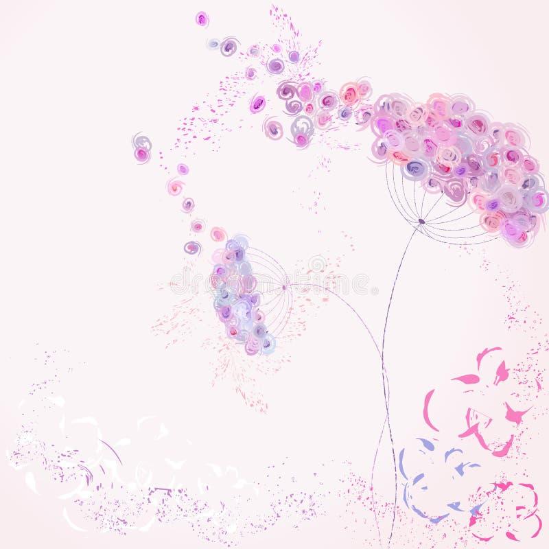 人为淡色花,与冲程和飞溅,自由 向量例证