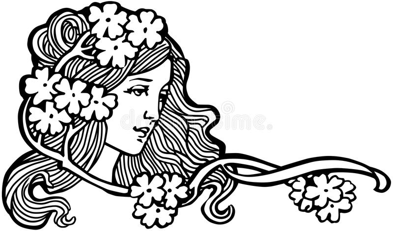 人为美好的明亮的五颜六色的创造性的睫毛眼影膏羽毛女花童长的构成佩带的花圈年轻人 库存例证