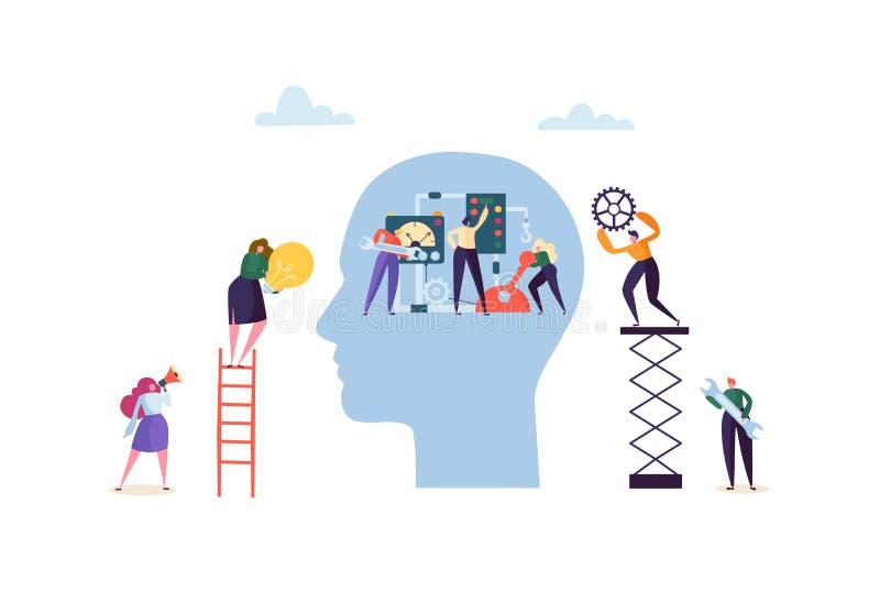 人为脑子巡回概念电子情报mainboard 修理机械机器人头的平的字符 配合机器技术和修理 皇族释放例证
