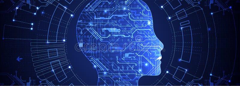 人为脑子巡回概念电子情报mainboard 背景二进制代码地球电话行星技术 库存例证