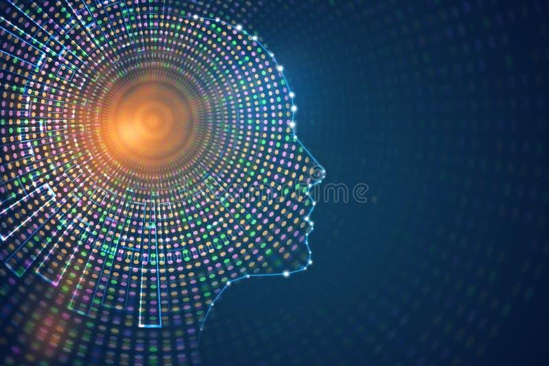 人为脑子巡回概念电子情报mainboard 向量例证