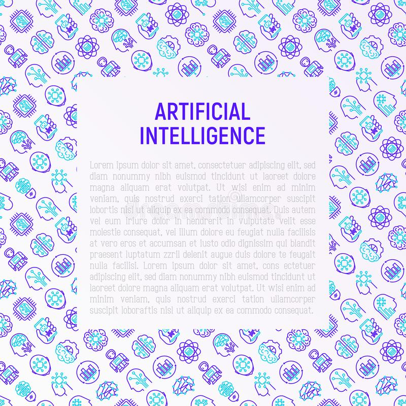 人为脑子巡回概念电子情报mainboard 库存例证