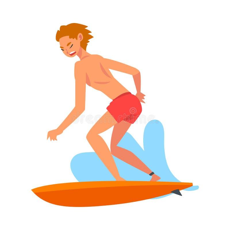 人乘坐的波浪,与冲浪板,消遣海滩水上运动传染媒介例证的男性冲浪者字符 皇族释放例证