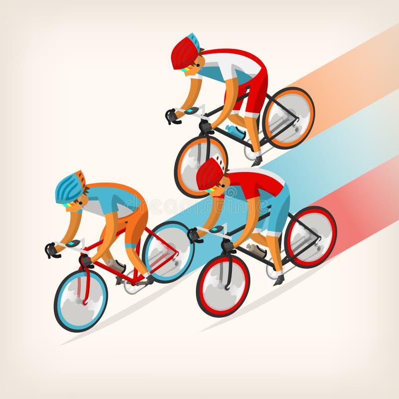 人乘坐的自行车全速 向量例证