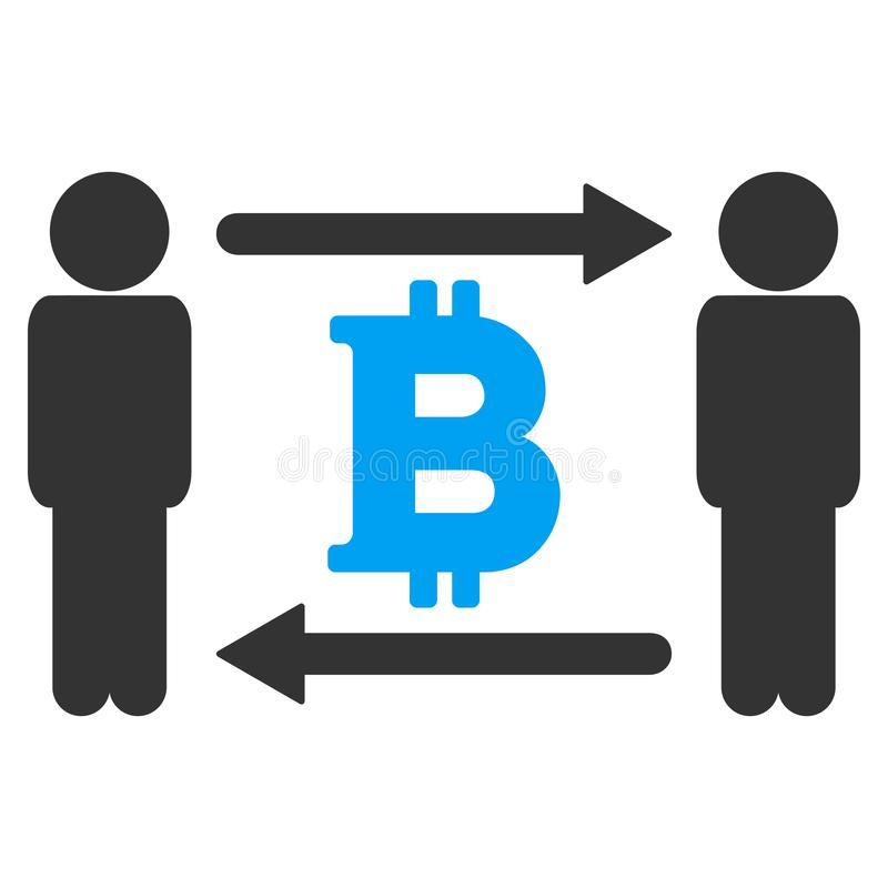 人交换Bitcoin传染媒介象 库存例证