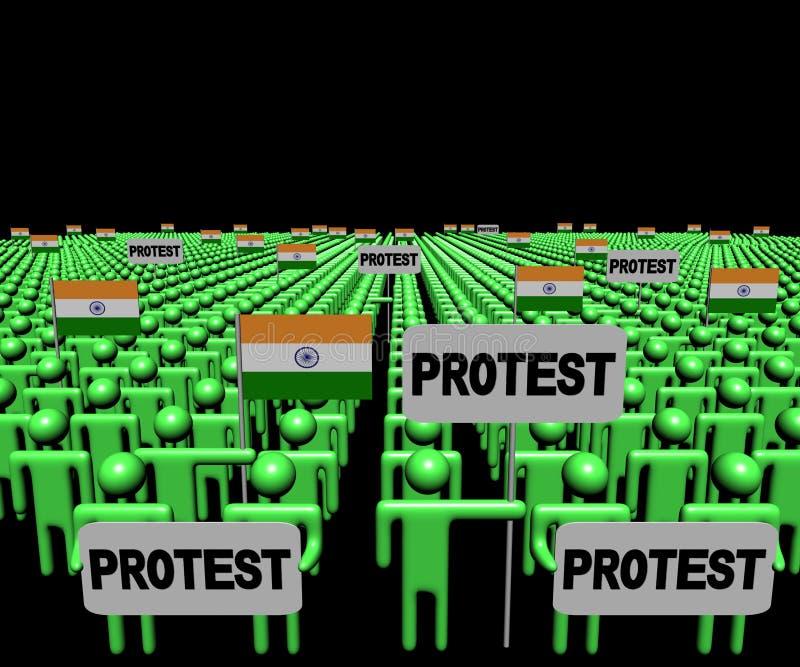 人人群有抗议标志和印地安人的下垂例证 库存例证