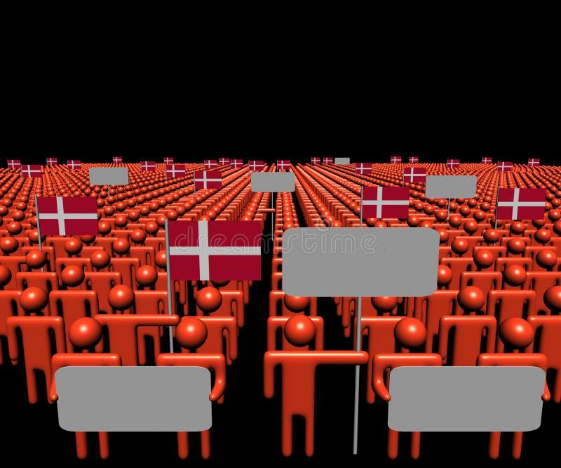 人人群有标志和丹麦语的下垂例证 向量例证
