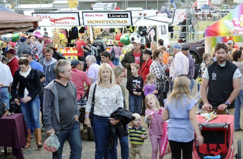 人人群获得乐趣在国家市场 免版税库存照片