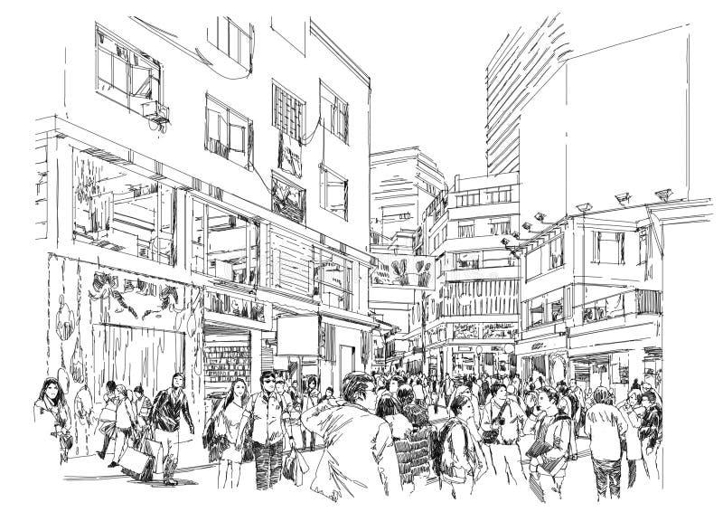 人人群购物街道的 向量例证