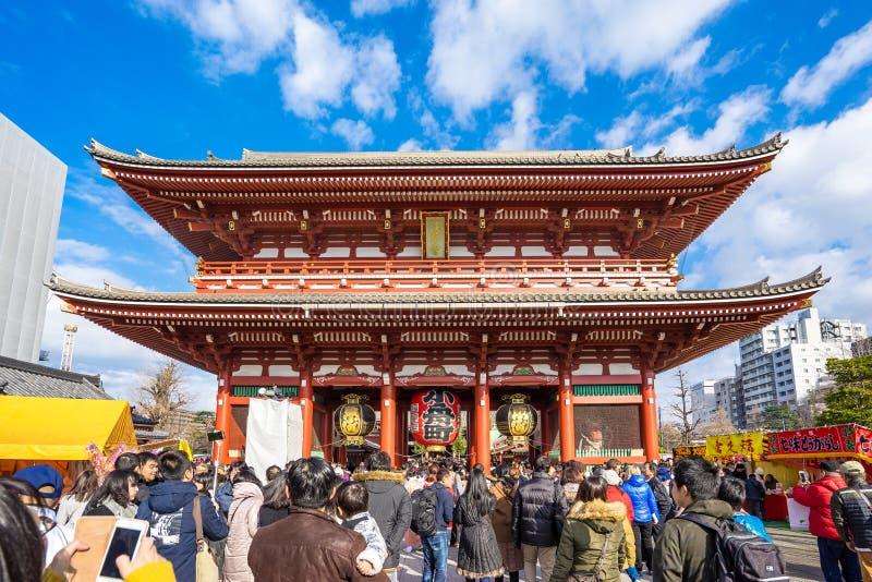 人人群Senso籍寺庙的在东京,日本 免版税库存照片