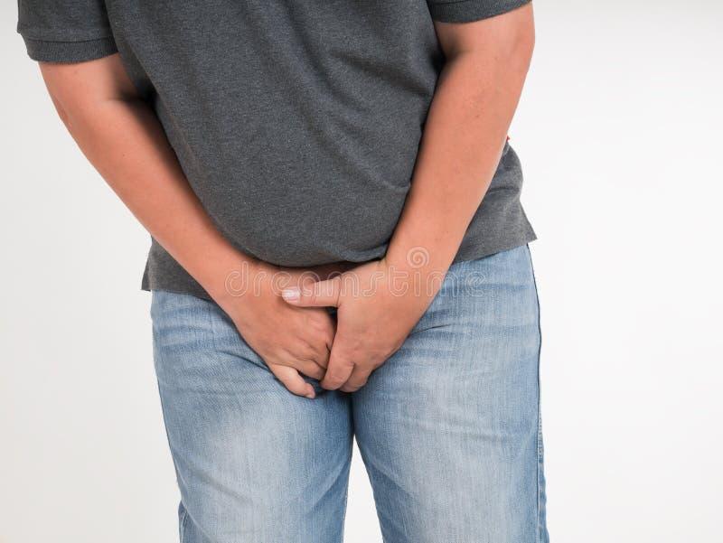 人从痛苦的覆盖物子宫颈 图库摄影