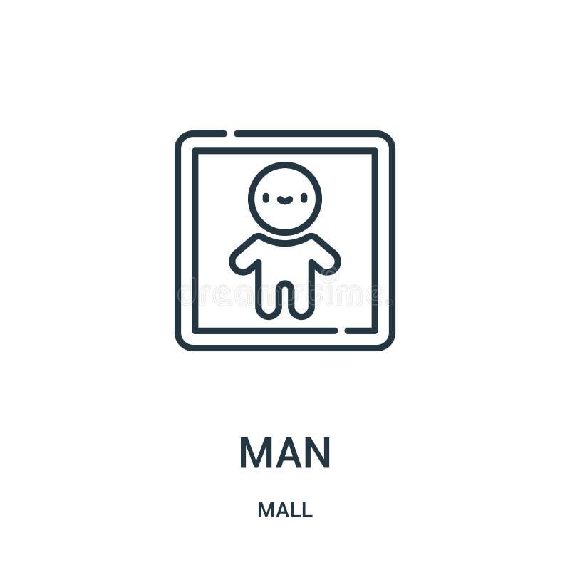 人从购物中心汇集的象传染媒介 稀薄的前锋概述象传染媒介例证 线性标志为在网和流动应用程序的使用 库存例证