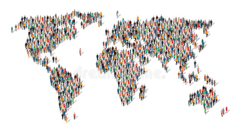 人以世界地图的形式 皇族释放例证