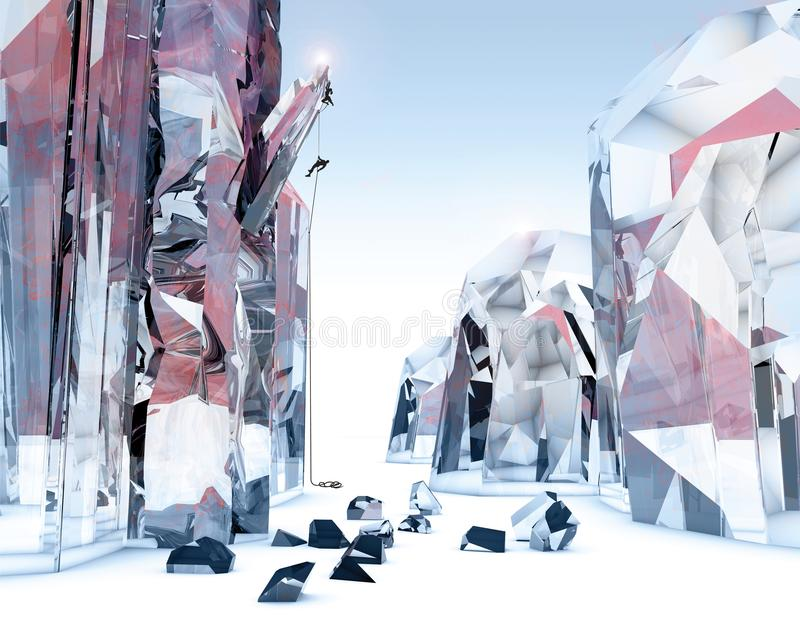 人们上升在巨型水晶的,意想不到的世界 科幻风景 库存例证