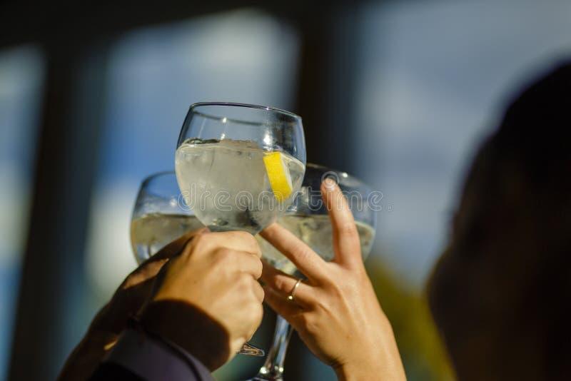 人们举行敬酒与玻璃,敬酒的朋友庆祝和 免版税库存照片