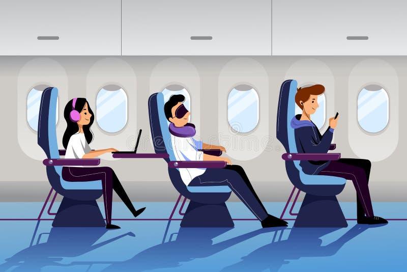 人们乘在经济舱的飞机旅行 与睡觉的和工作的乘客的平面内部 传染媒介平的动画片例证 向量例证