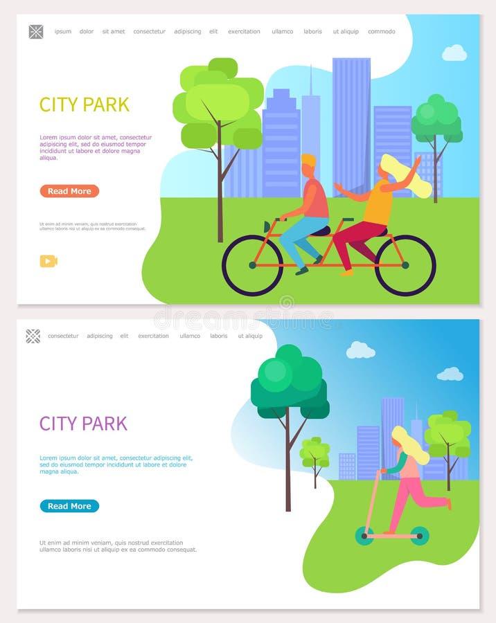 人们乘自行车和滑行车在城市公园传染媒介 皇族释放例证