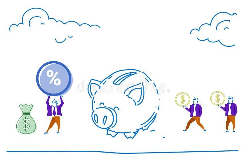 人们保存金钱存钱罐美元硬币百分之投资和储款概念成长财富水平的剪影乱画 皇族释放例证