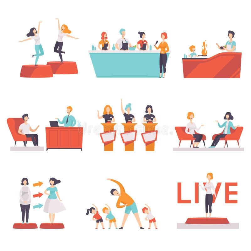 人们参与在电视节目集合的,娱乐,烹饪,时尚,健身显示通过电视在a的传染媒介图解 库存例证