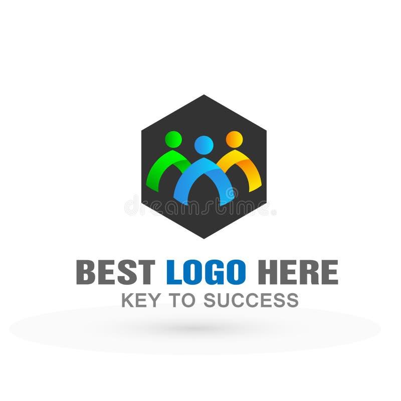 人们合作工作组coporate事务的商标象在白色背景 库存例证