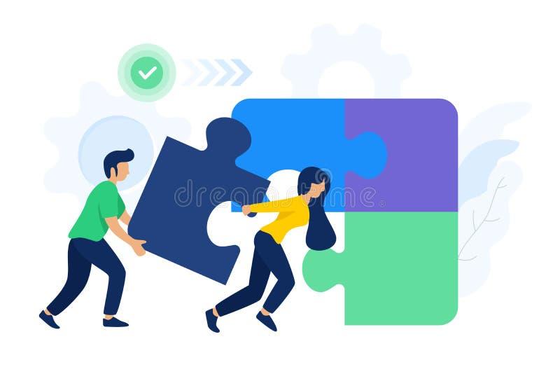 人们合作连接的难题元素 库存例证