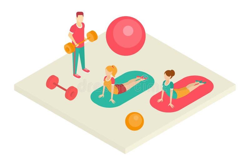 人们向体育求助在健身俱乐部,健身房传染媒介例证内部  向量例证