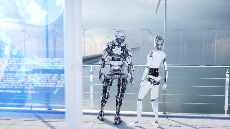 人们和机器人 科学幻想小说驻地 未来派单轨铁路车运输 未来的概念 3d翻译 皇族释放例证
