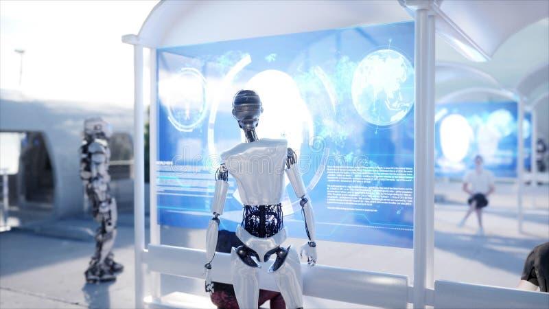 人们和机器人 科学幻想小说驻地 未来派单轨铁路车运输 未来的概念 3d翻译 向量例证