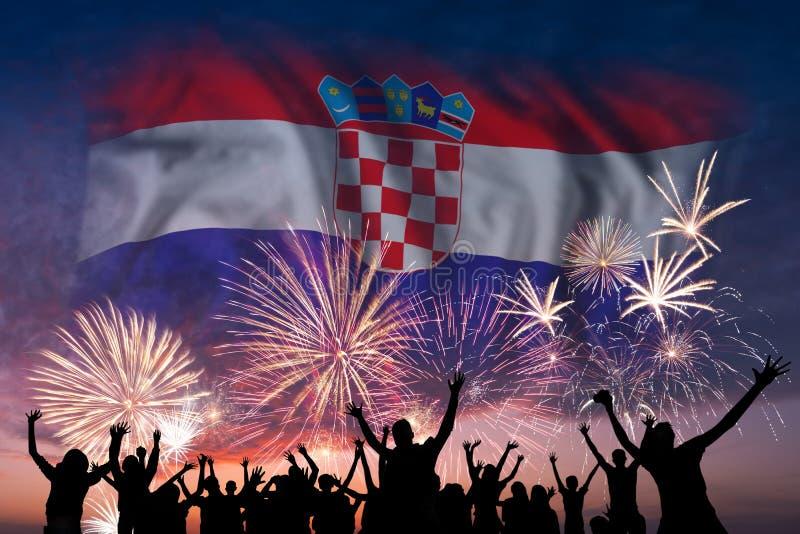 人们在克罗地亚的烟花和旗子看 向量例证