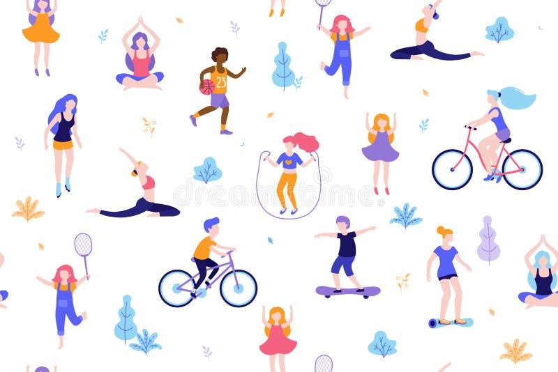 人们在公园无缝的样式白色背景中 做活动和体育室外平的设计传染媒介的孩子 皇族释放例证